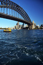 Sydney Sailing Under The Harbour Bridge Australia Royalty Free Stock Photo