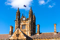 Sydney Uni building facade with Australian flag Royalty Free Stock Photo