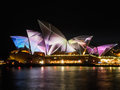 Sydney vivid festival in the night at sydney australia Royalty Free Stock Photo