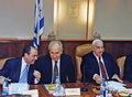 Sylvan shalom shimon peres and ariel sharon minister of treasury foreign minister prime minister are about to commence the weekly Royalty Free Stock Photo