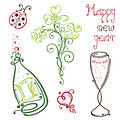 Sylvester new years eve colorful and abstract vector set Royalty Free Stock Photography