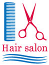 Symbol of barbershop blue with hair and scissors Stock Photos
