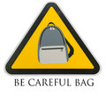 Symbol be careful bag on red background jj park at bangkok Stock Images