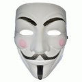 Symbol of computer hackers a v for vendetta or anonymous mask Stock Photography