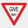 stock image of  Symbol give way sign on transparent background