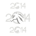 Symbol of horse year chinese vector illustration image tattoo design Stock Photos