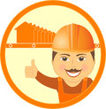 Symbol with house and cartoon worker Stock Photos