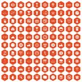 100 symbol icons hexagon orange
