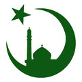 Symbol of islam and mosque ramadan green silhouette Royalty Free Stock Images