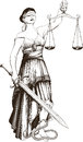 Symbol of justice femida blindfolded weights at arm length and sharp sword Stock Photo