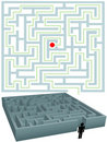 Symbol man with plan for solution of maze puzzle Royalty Free Stock Photos