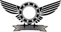 Symbol mechanical with wings and gear Royalty Free Stock Photo