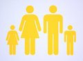 Symbol of nuclear family consisting both parents and two children Royalty Free Stock Photo