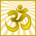 Symbol om on sun burst background Royalty Free Stock Photography