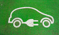 Symbol on the pavement of an electric car charging station Stock Image