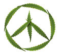 Symbol of peace marijuana symbol of the hippie and leafs Stock Photos