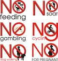 Symbol prohibitions illustration set of symbols ban gambling soar cycling feeding dog walking and dangers for pregnant women Royalty Free Stock Images