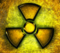 Symbol of radiation on a steel background Stock Image