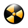 Symbol of radioactive contamination on a white background Royalty Free Stock Photo