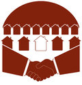 Symbol of real estate with handshake sun and cott red sign cottage Royalty Free Stock Photos