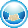 Symbol of reliability partnership handshake blue successful Stock Photography