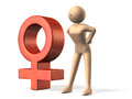 Symbol representing the female computer generated image Stock Photos