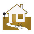 Symbol of returning home by bike Stock Photography