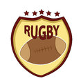 Symbol of rugby a leather made ball in a yellow background Royalty Free Stock Image