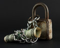 Symbol of saving dollar bill with padlock and chain Stock Photos
