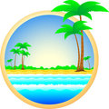 Symbol of sea resort palm trees and sand Stock Photography
