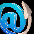 At symbol shows electronic mail correspondence showing through web Stock Photography