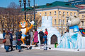 Symbol of the sochi olympics on manezh square in moscow on april in moscow Royalty Free Stock Photography