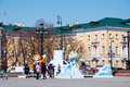 Symbol of the sochi olympics on manezh square in moscow on april in moscow Stock Photos