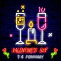 Symbol for Valentine s day. Neon sign, bright banner, night whiteboard. Advertising for Valentine s Day, design template for