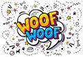 Woof in word bubble.
