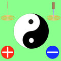 Symbol of yin and yang, black and white, at the corners of the needle, knife, plus and minus