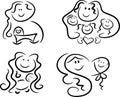 Symboler för symbolsförälskelsemoder Royaltyfria Bilder