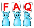 Symbolic figures holding up signs saying faq Royalty Free Stock Image