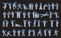 Symbolic figures of people set active human pictograms vector isolated Royalty Free Stock Images