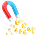 Symbolic horseshoe magnet attracting euro signs glossy bright isolated on white Stock Photography