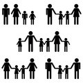 Symbolic icon people families hetero homosexual patchwork icons for different types of modern lifestyle heterosexual gay and Royalty Free Stock Photos