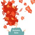Symbolic image of the autumn sale. Leaf fall. Illustration of a happy red-haired girl