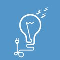 Symbolic light bulb with electric plug cord and Stock Images
