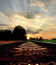 Symbolic railway in sunset Royalty Free Stock Photography