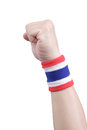 Symbolic thailand flag wristband at the hands of men Royalty Free Stock Images