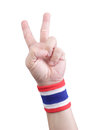 Symbolic thailand flag wristband at the hands of men Stock Images