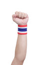 Symbolic thailand flag wristband at the hands of men Royalty Free Stock Photos