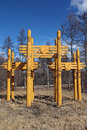 Symbolic wooden gate in south yakutia Royalty Free Stock Photos
