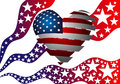 The symbolism of the American flag. Heart, Stars and Stripes. Royalty Free Stock Photo