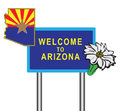 Symbols of arizona on the road sign vector illustration Stock Photography